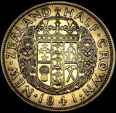 1941 New Zealand SILVER Half Crown in Nice Shape L@@K!