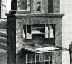 Detail of desk in room divider