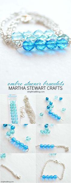 DIY ombre stacker bracelets with Martha Stewart Crafts Jewelry from A Night Owl #marthastewartcrafts #12monthsofmartha