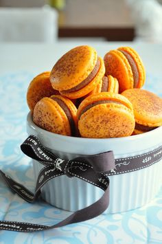 Passion fruit & milk chocolate macarons
