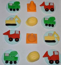 Construction Fondant Cupcake, Cake or Cookie Toppers
