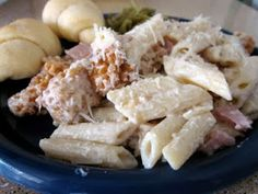 Chicken Cordon Bleu Pasta- 4 ingredients and so simple to throw together for a quick dinner!