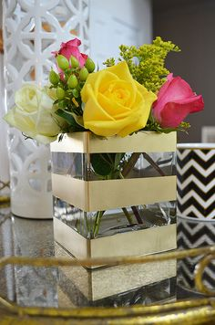 DIY Thrift Store Gold Striped Vase