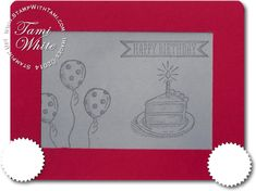 Freakin' awesome Etch-a-Sketch Birthday Card video using Stampin Up punches and Sketched birthday #stampinup