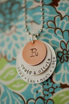 Family necklace - other great necklaces on her site