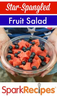 This patriotic fruit salad is a cinch to make (even the kids can help!) and looks great on your Memorial Day table! | via @SparkPeople #food #recipe #party #healthy #watermelon #blueberry #cookout #picnic
