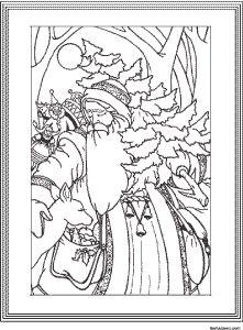 adult coloring page christmas st nicholas vintage art
