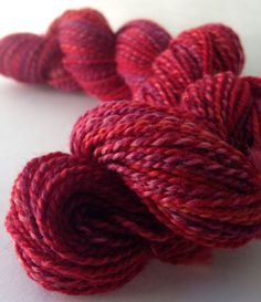 NEW COLORWAY // Devilish Grin // Oh, it's nothing much, except the absolute reddest red you could imagine... DyedInTheWoolYarns, $29.00
