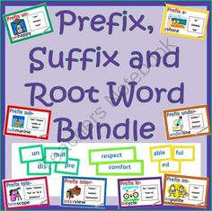 Prefix Suffix and Root Word Bundle from NylasCraftyTeaching on TeachersNotebook.com -  (46 pages)  - Games for prefixes and suffixes