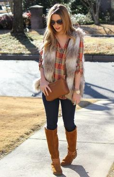 Fall Fashion 2014. Love this mix of plaid with the faux fur vest. ::M::