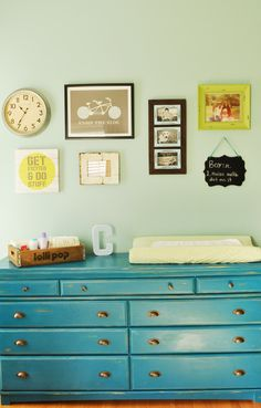 Love the turquoise dresser. Project Nursery - Refinished Dresser Using Homemade Chalk Paint