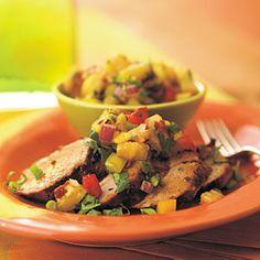 Adobo-Marinated Pork Tenderloin with Grilled-Pineapple Salsa | MyRecipes.com