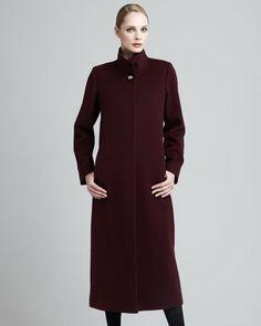 Long Wool Golden-Button Coat by Fleurette at Neiman Marcus.