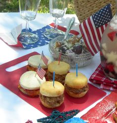 4th of July picnic closeup of BBQ mini buns and Pimento Cheese rounds with hot pepper jelly from Green Palm Inn, #Savannah #Georgie #USA. Photo (c) 2013 Green Palm Inn / Sandy Traub