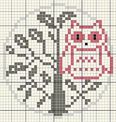 Cutie cross stitch owl pattern