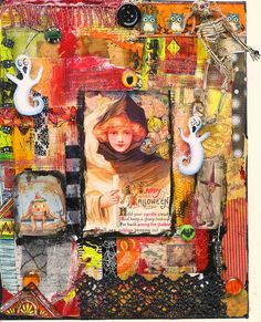 mixed media happy halloween.@Melody Gee Whipple Halloween-your fav.  What about a She Art Girl for Halloween.