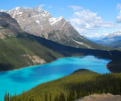 Banff, Canada - right across the border from Montana.  Glacier in Montana, Waterton National Park in Canada.  Breathtaking!