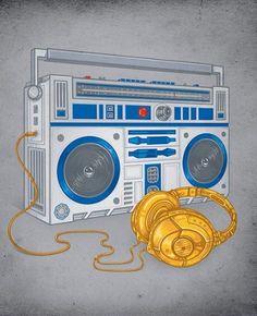 R2D2 radio with C3PO headphone