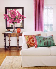 decor, living rooms, couch, color combos, living room ideas, happy colors, accent colors, bright colors, curtain