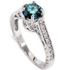 1.23CT Blue Diamond Vintage Engagement Ring 14K White Gold Antique Engraved 4-9
