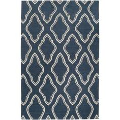 Jill Rosenwald Hand-woven Blue Loch Wool Rug (5' x 8')