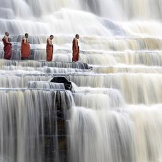 These monks seem to have found serenity at Pongua Falls in Vietnam.
