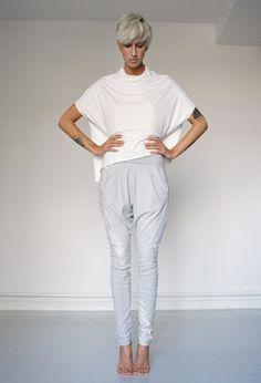 Light grey faux leather baggy leggings