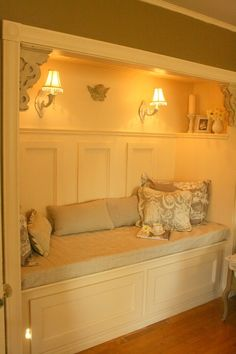 Closet turned reading nook: we always love these creative closet ideas, but who actually has extra closets?