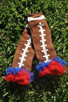 Brown Football Leg Warmers with Chiffon ruffle by MWLC3 on Etsy, $8.00