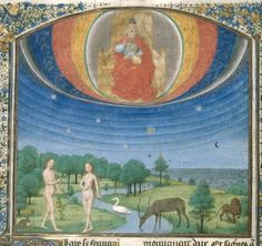 The Ptolemaic universe as viewed from the Earth. God is shown with the angels in the spiritual realm outside the rotating spheres of the stars and planets. Simon Marmion (ca. 1425-1489), The Temptation of Eve, ca. 1460, Royal Library Brussels.