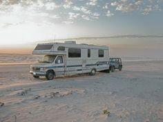 RV camping on the beach at Padre Island National Seashore, Texas