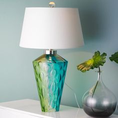 Seaside water glass table lamp aqua blue and lime green glass vase has