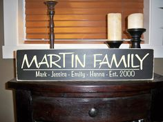 Family Name Sign, Wood, Personalized, Custom, Plaque with Vinyl Lettering, gift, Family, Established, Home, Wedding, Shower, Anniversary. $28.00, via Etsy.
