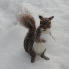 Needle Felted Squirrel Grey Poseable by ClaudiaMarieFelt on Etsy, $100.00