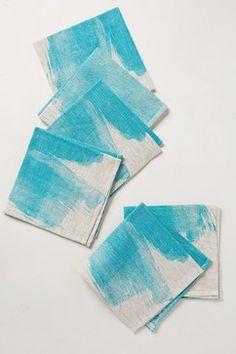 Turquoise Splash Napkins, Set of 6 - contemporary - Napkins - Anthropologie