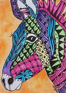 ACEO Le Print Zebra Doodle Horse Donkey Zoo Animal Wildlife Zentangle Larusc | eBay