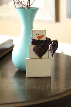 Just Between Friends: Christmas Decorating wood block snowman