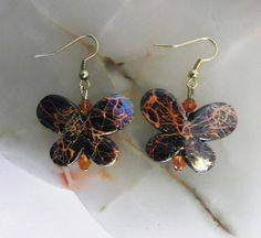 """Orange & Black Butterfly"" pierced earrings"