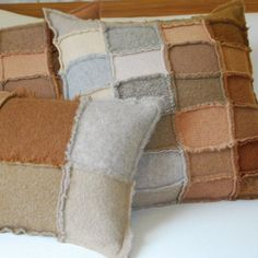 Tan felted recycled wool sweater pillow square