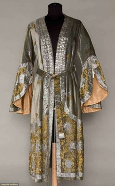 GALLENGA STENCILED VELVET ROBE & BELT, c. 1912   light sage green silk velvet stencilled in gold & silver rococo floral pattern, open front, narrow elbow-length sleeves w/ stenciled circular flounce