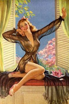 Good morning, sunshine! #vintage #pinup #art #lingerie