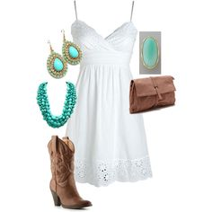 """""""Boots & Turquoise"""" by yjmunson on Polyvore. This fits my southern Tennessee roots."""