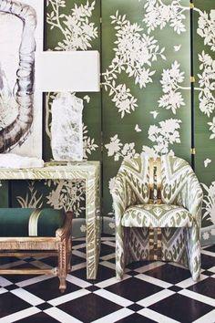 Mixed green prints. #decoratingideas interior design, modern, contemporary, transitional interiors, classical architecture, vintage and mid-century design, #home #design #interior