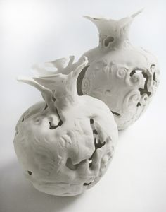 london-based ceramist tamsin van essen has designed a collection of vases influenced from 17th century dutch vanitas paintings,  capturing the moment of decay.