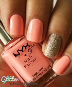 NYX Naked Pink + China Glaze I'm Not Lion rose, lion, gold nails, color combos, china glaze, nail colors, glitter nails, peach, gold accents