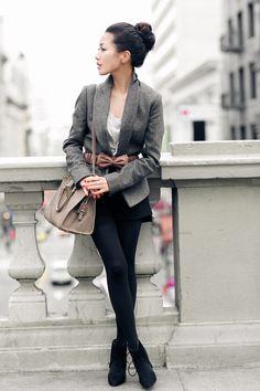Gray blazer, neutral accessories