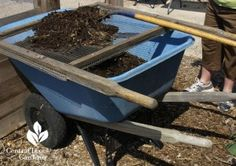 compost screen made from old wheelbarrow handles Sheryl Williams