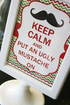 Ugly Sweater Mustache Adult Christmas Holiday Party Planning Ideas