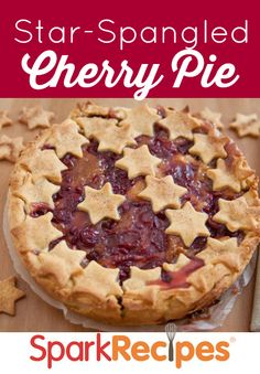 What a great idea to make a pie crust out of holiday-related shapes. These stars are perfect for fourth of July--and really you could put them on top of any type of pie! | via @SparkPeople #food #recipe #dessert #cookout #party #patriotic
