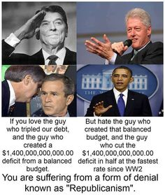 A comparison between Clinton and Obama presidencies and the Reagan and George W. Bush presidencies.